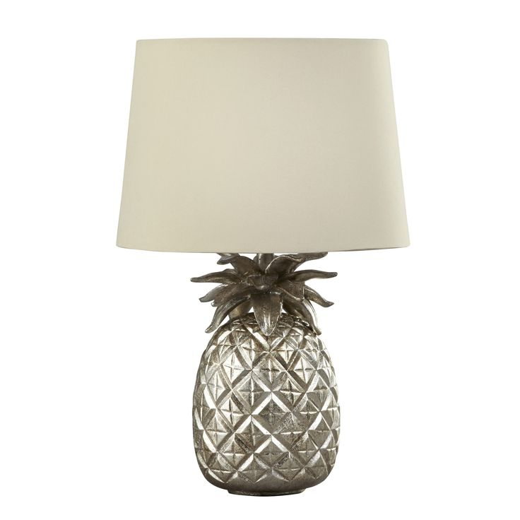 Pineapple Champagne Table Lamp with Sable Shade at Laura Ashley