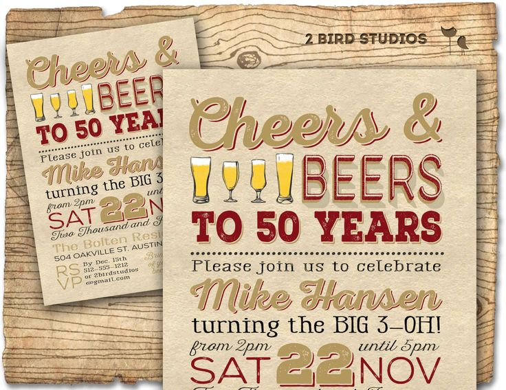 50th Birthday Invitation- Surprise Party 50th birthday invite - 50th birthday party DIY printable invitation - Vintage - 30th 40th 60th by 2birdstudios on Etsy https://www.etsy.com/listing/207246505/50th-birthday-invitation-surprise-party