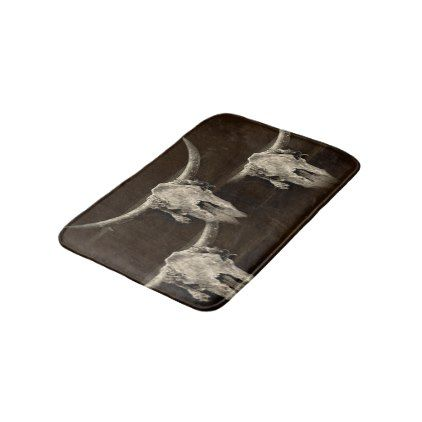 Sepia rustic buffalo skull with horns bath mat - rustic gifts ideas customize personalize