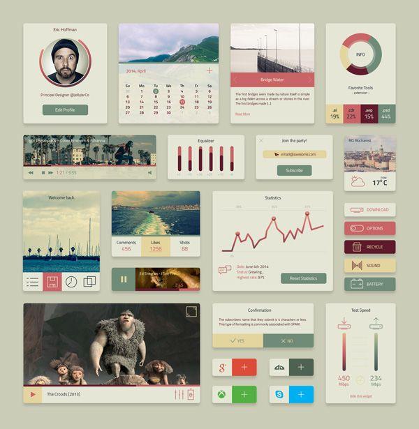 Free Coloro UI Kit #UI #UX #Web #Design #Psd