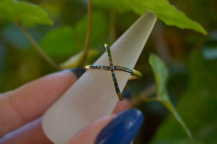 Blue Diamond Ring Handmade Solid 18k Gold by ViazisJewelry on Etsy