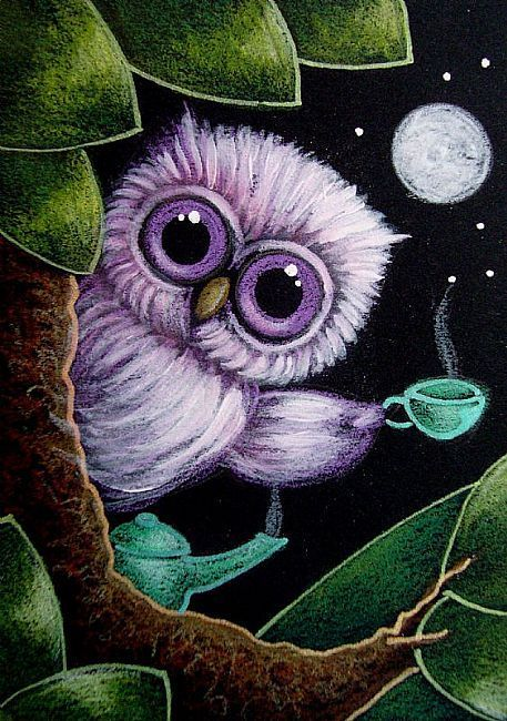 Art: TINY VIOLET OWL - TEA OR COFFEE by Artist Cyra R. Cancel