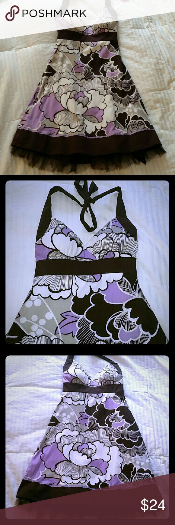 Ruby Rox Bold Floral Fit N Flare Dress Ruby Rox Sz 5 Floral Dress, Brown Purple White, Rockabilly Built in Cups, Halter Ruffled Tuelle Ruby Rox Dresses
