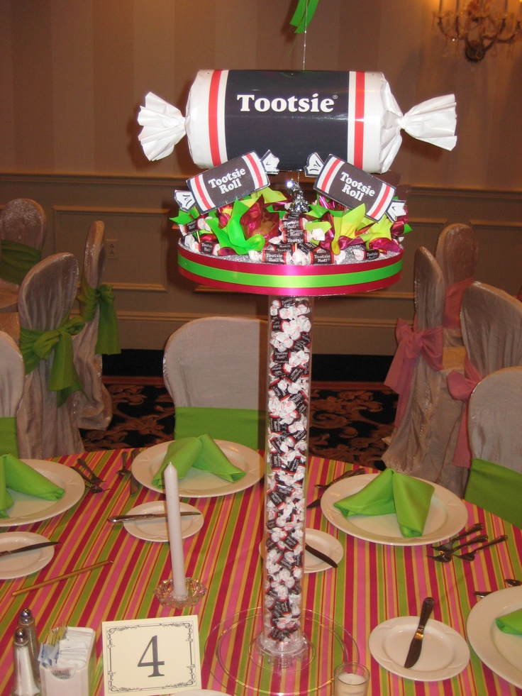 Tootsie Roll candy centerpiece by www.Total-Party.com