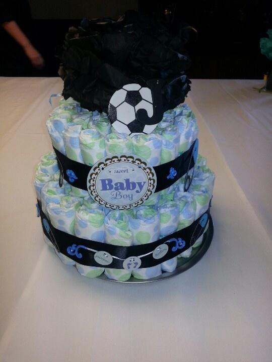 Soccer Baby Boy Diaper Cake