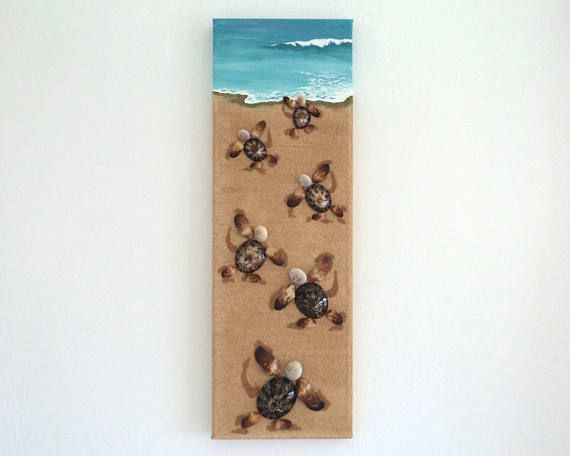 Turtles, Artwork with Seashells & Sand, Art Wall Picture of Turtles, Turtles in Seashell Mosaic, Mosaic Art, 3D Art Collage, Home Decor, Wall Decor #ArtworkwithSeashells #mosaiccollage #seashellmosaic #homedecor #walldecor #3D