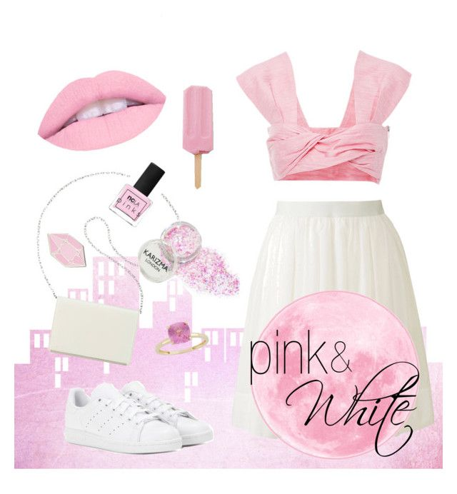 """""""Pink and White"""" by kharismabelle on Polyvore featuring Paper London, Uniqlo, adidas, Nine West, ncLA and Big Bud Press"""