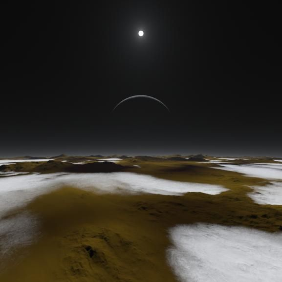 Just how dim is the sunlight on Pluto, some three billion miles away? This artist's concept of the frosty surface of Pluto with Charon and our sun as backdrops illustrates that while sunlight is much weaker than it is here on Earth, it isn't as dark as you might expect. In fact, you could read a book on the surface of Pluto. Image credit NASA/Southwest Research Institute/Alex Parker
