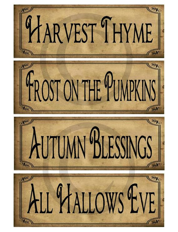 Primitive Prim Autumn Fall Sayings Jpeg Digital Pantry Labels Many Uses!  Rag Tags, Hang tags Block Sign Crate Jar Box Crock Label on Etsy, $3.00