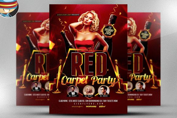 Red Carpet Event Flyer Template by FlyerHeroes on @creativemarket