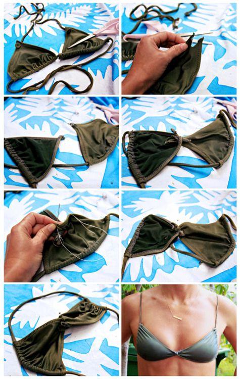Turn your triangle top bikini to a twist-top for a little variation. Diy bikini change up