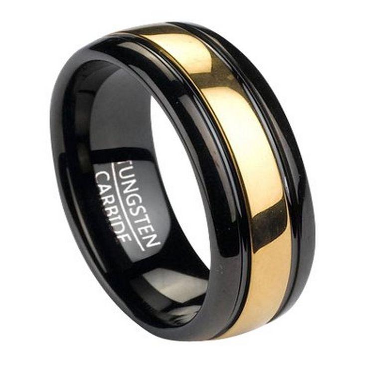 8 Millimetri Anello Uomo Nero Tungsteno Con Inserti In Oro Tono   Black Tungsten Ring