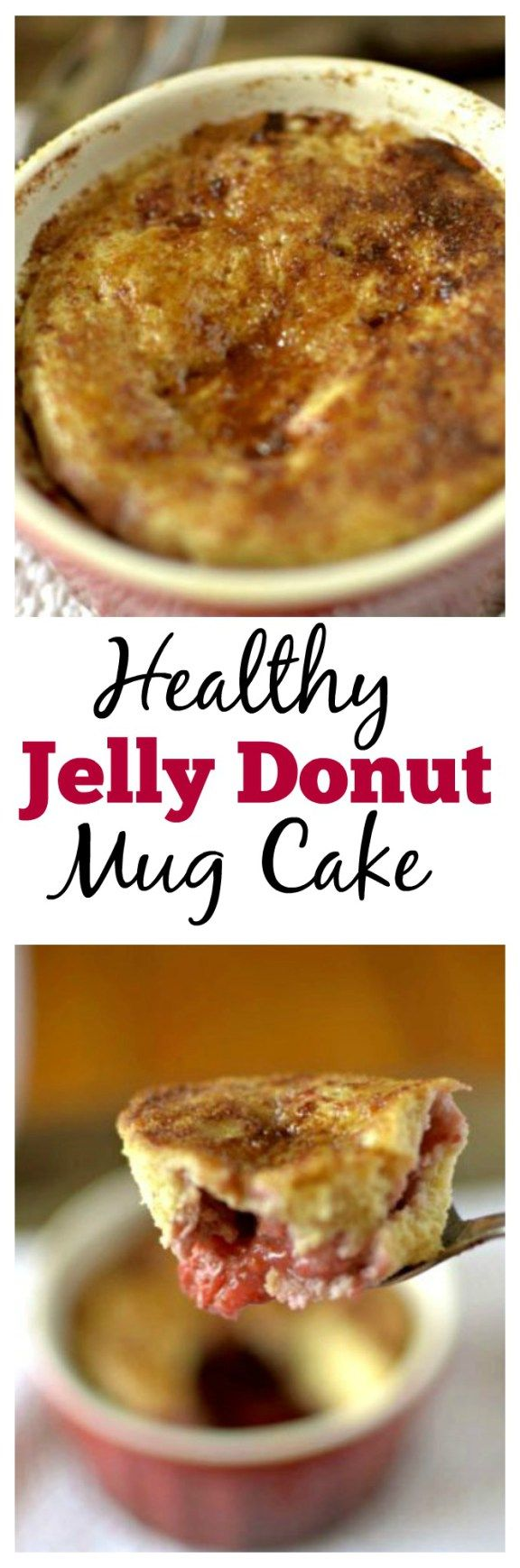 This Healthy Jelly Donut Mug Cake takes seconds to make and tastes like an actual jelly donut! This Mug cake is paleo, gluten free and has a vegan option.
