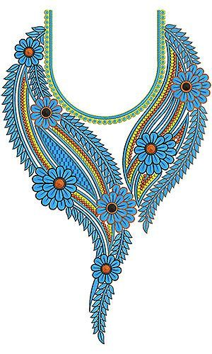 Hand embroidery designs for kurtis neck simple