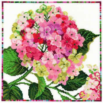 Hydrangea - Garden Flowers (XGF2)   One of a series of floral cross stitch kits designed by Lesley Teare for Bothy Threads.  The designs use full cross stitch only and are embellished with beads.   Contents: 14 count white Zweigart aida, pre-sorted stranded cottons, beads, needle, chart and full instructions.   Size: 26cm x 26cm.   RRP £27.49
