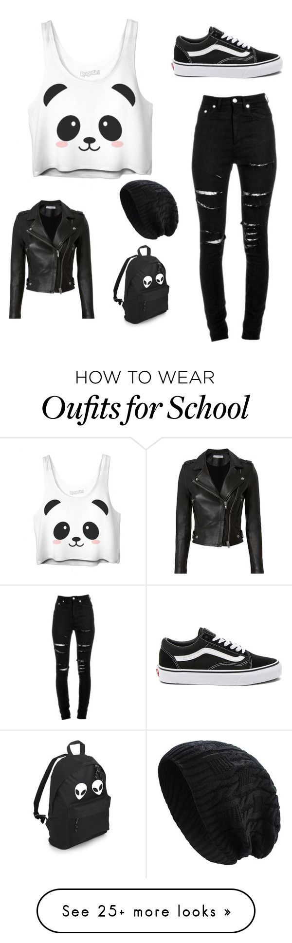 """panda look"" by crusvartex on Polyvore featuring Yves Saint Laurent, Vans and IRO"