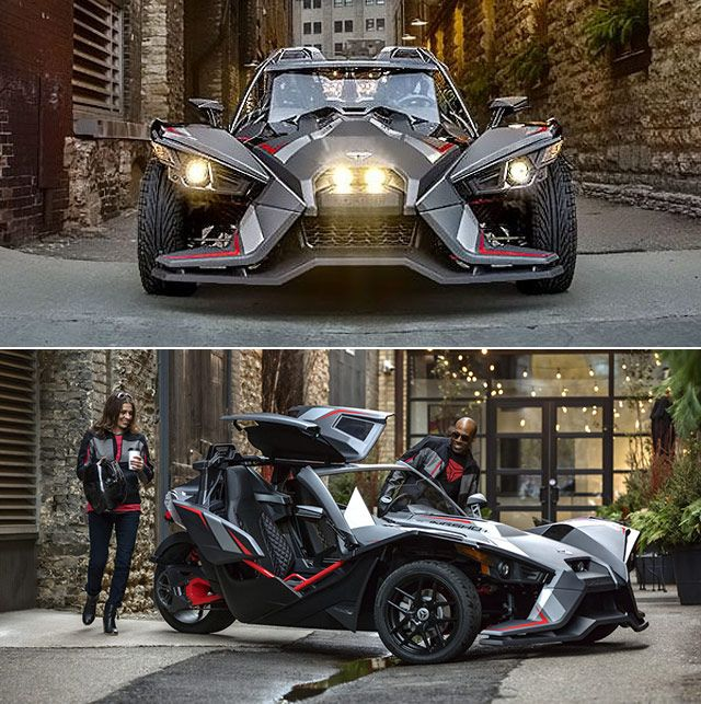 2018 Polaris Slingshot Grand Touring Le Is Equipped With Slingshade Roof And Other Comforts Throttlextreme Sports Car Polaris Slingshot Slingshot Car