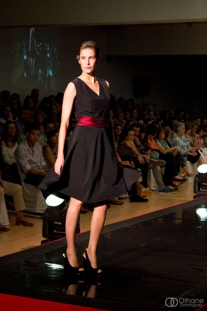 LeSmoking Collection. Black Dress with burgundy Belt.