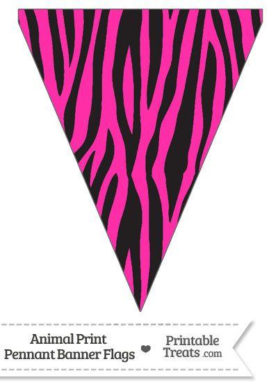 Hot Pink Zebra Print Pennant Banner Flag From