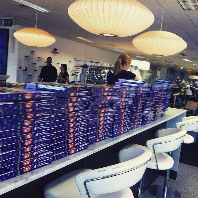 A wall of selection boxes at our top-up bar for all of our staff this morning! #feelgoodfriday #topupyourday #feelingfestive #christmascheer