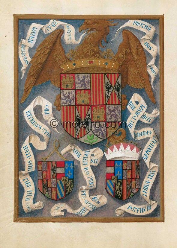 f. 436v, Escudo de los Reyes Católicos junto con los de sus dos hijos y yernos.  Representa el escudo  de las coronas de ambos monarcas: muestra, sobre un fondo ilusionista azul encerrado en un sencillo marco, el águila de san Juan –ya que Isabel I de Castilla fue coronada en la fiesta de este santo–, dorada y azorada sobre el todo, cuya cabeza está flanqueada por dos filacterias en donde se lee, a la izquierda: « svb vmbra/alarvm/tvarum» y «protege/nos » a la derecha.