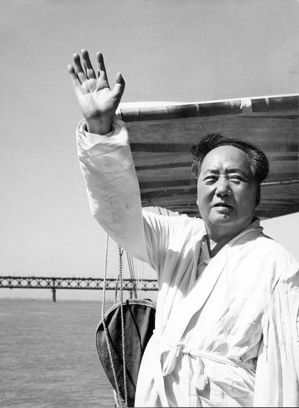 1966 July 26, Mao Zedong on the deck of a steamship. Sovfoto/Getty Images/CFP