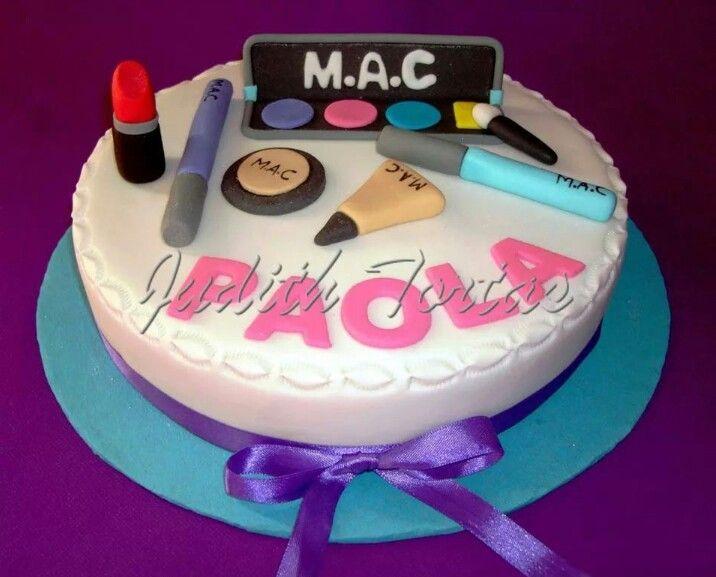Torta decorada con fondant Make up | Tortas para Mujeres/Woman ...