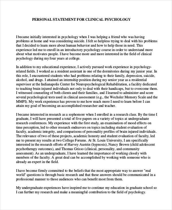 Graduate School Personal Statement Template Fresh 10 Examp Example Forensic Psychology Sample