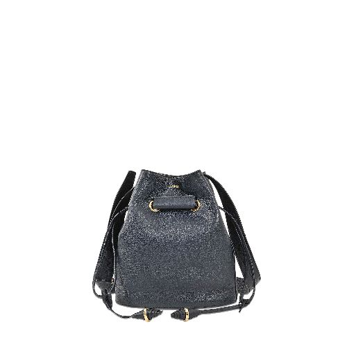 The LANCEL blue (13 BLEU MARINE) Le Huit double carried bag with adjustable shoulder strap is made with leather and is lined in cotton. It has a grained appearance. The double carried bag has a drawstrings closure, one zippered pocket, one plated pocket on the inside, integrated removable pouch.