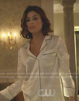 Cristal s white silk pajamas on Dynasty 3fb6a184d