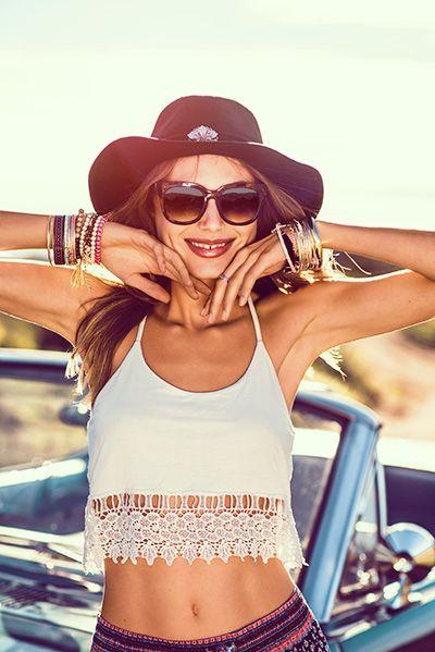 Crotchet/ Lace Crop Top, Felt Hats and Sun glasses.