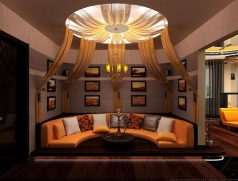 Living Room Furniture And Ceiling Design At Night Of Halloween With Combination Black Orange Interior Photo