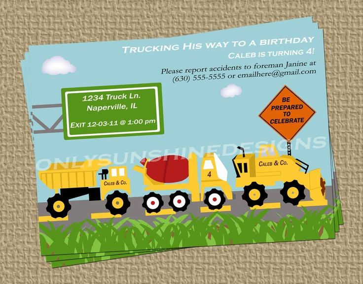 Construction Truck Birthday Theme Digital Invitation. $13.00, via Etsy.