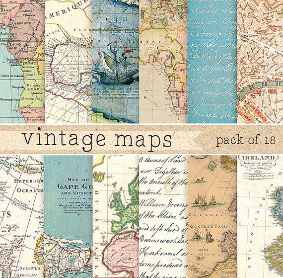 Vintage maps digital paper: retro texture with por ElyseBear