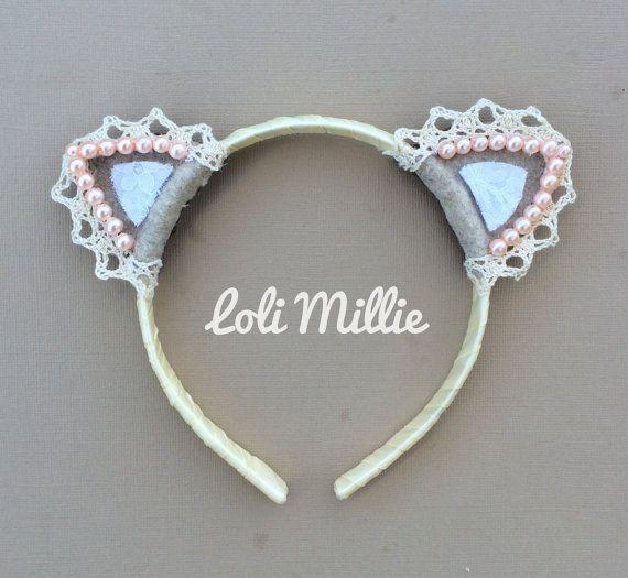 Creme Nekomimi Headband - Kawaii Cat Ears Sweet Lolita Hime Gyaru Halloween Ivory Pink