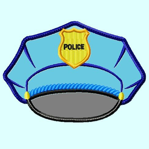 Police Hat APPLIQUE Embroidery Design great for  by LunaEmbroidery, $3.99