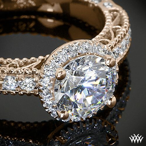 20k Rose Gold Verragio AFN-5002R-1 Beaded Pave Diamond Engagement Ring