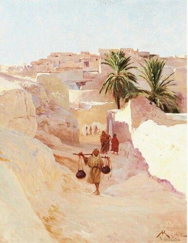 Algérie - Peintre Français ALBERT-GABRIEL RIGOLOT ( 1862-1932), Huile sur toile marouflée sur carton ,Titre : Personnages à Bous Saada