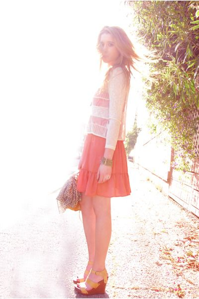 coral + open weave sweater