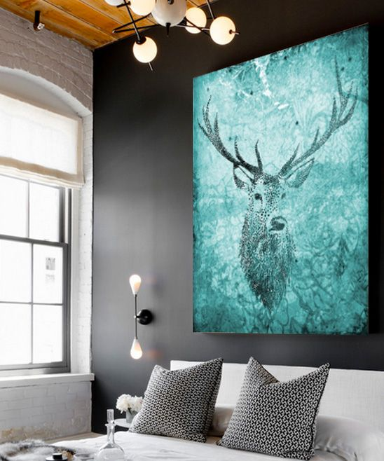 Emerald Deer Hunter Wrapped Canvas