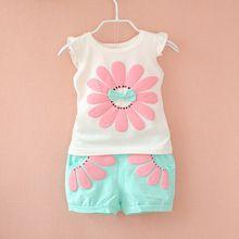 2016 fashion toddler Korean baby girls summer clothing sets bow sunflower girls…