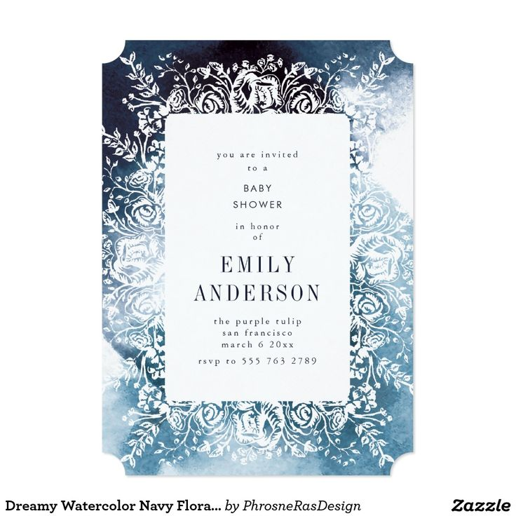 Dreamy Watercolor Navy Floral Elegant Invitation #zazzle #invitation #stationery #tabletop #flowers #floral #organic #original #illustration #designer #suite #elegant #stylish #phrosneras #phrosnerasdesign #calligraphy