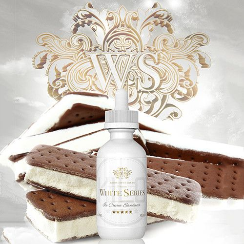 Kilo eLiquids White Series Ice Cream Sandwich - A distinctive blend of chocolate cookie and luscious vanilla ice cream yields a rich chocolate taste on the inhale with a captivating sweet creamy aftertaste. 70% VG