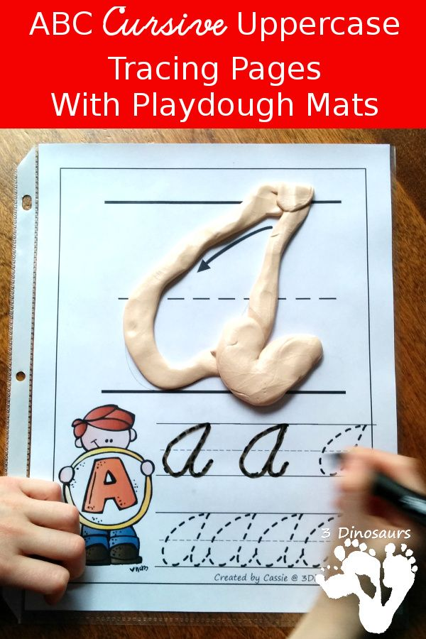 FREE ABC Uppercase Cursive Tracing Pages with Playdough Mats - two types of tracing options - 3Dinosaurs.com