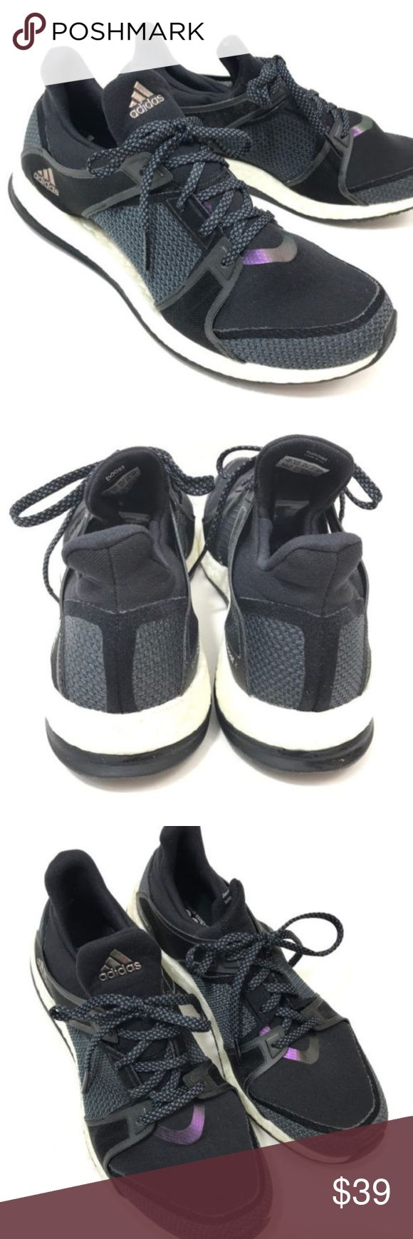 Adidas Pure Boost Training Shoes Sz 10 Black Gray Adidas Pure Boost Training Shoes  Women's US Size 10 M Black lace up style Running / athletic sneakers  Very good pre-owned condition showing light signs of wear, please review pictures for details adidas Shoes Athletic Shoes