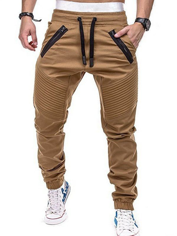 da4062ab Stitch Zipper Embellished Casual Jogger Pants - CAMEL BROWN M ...