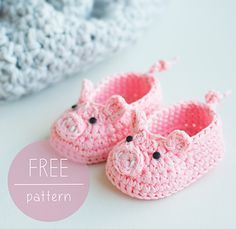 Zapatitos en forma de cerdito, a crochet para bebé