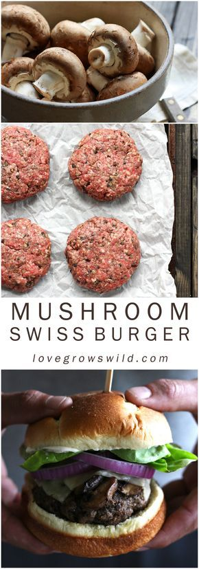 Juicy, meaty, mushroom burgers topped with swiss cheese and sautéed mushrooms - get the recipe at LoveGrowsWild.com