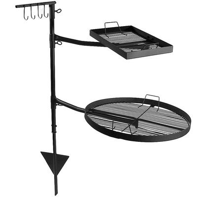 This unique fire pit grill grate system by Sunnydaze allows for easier cooking at a campsite or on your outdoor fire pit.