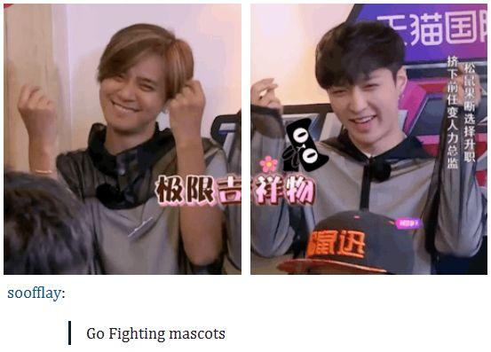 Zhang Yixing with fellow Go Fighting mascot Show Luo^.^
